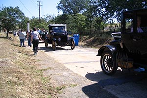 Vintage cars on way to Mormon Tavern